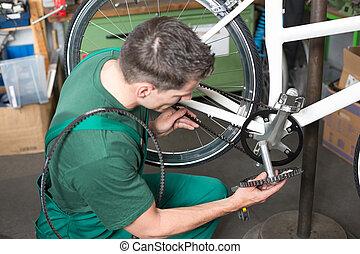megjavítás, bicikli, fog, műhely, szerelő, öv