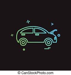 megjavítás, bolt, autó, vektor, tervezés, ikon