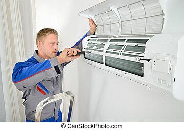 megjavítás, conditioner, villanyszerelő, levegő