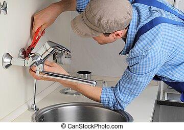 megjavítás, csap, fiatal, kézműves, citchen