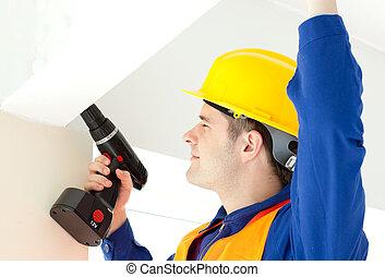 megjavítás, elfoglalt, villanyszerelő, terv, erő