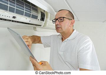 megjavítás, fal, conditioner, technikus, levegő