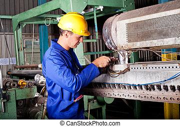 megjavítás, gép, ipari, szerelő