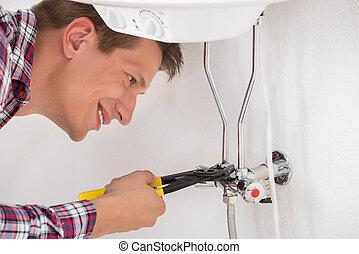 megjavítás, melegvíztároló, munkás, elektromos, ficam