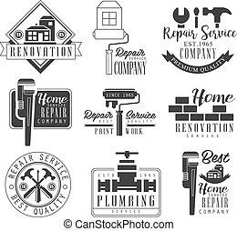 megjavítás, mintalécek, szolgáltatás, szöveg, aláír, körvonal, fekete, csőhálózat házi, tervezés, fehér, eszközök