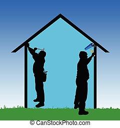 megjavítás munkás, vektor, ábra, épület
