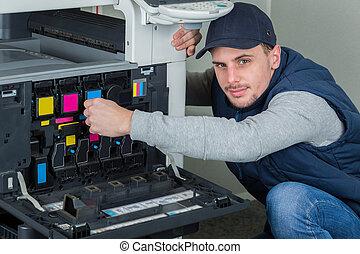 megjavítás, nyomdász, fiatal, másológép, gép, digitális, technikus, hím