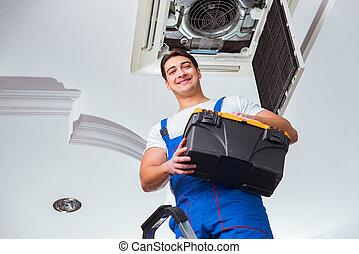 megjavítás, plafon, munkás, légkondicionálás, egység
