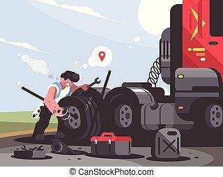 megjavítás, teherautó-sofőr, autó