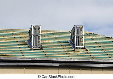 megjavítás, városi, épület, tető, szerkesztés, restaurálás