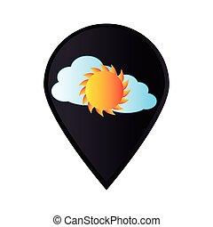 megjelöl, ikon, mutató, gps, noha, felhő, és, nap
