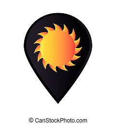 megjelöl, ikon, mutató, gps, noha, nap
