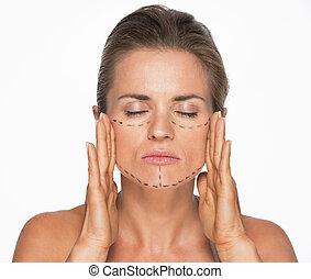 megjelöl, sebészet, woman arc, műanyag
