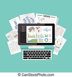 megjelenítés, ügy, értelem, application., screen., desktop,...