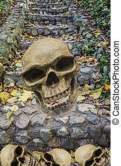 megkövez, ősi, öreg, lépcsőház, háttér, koponya