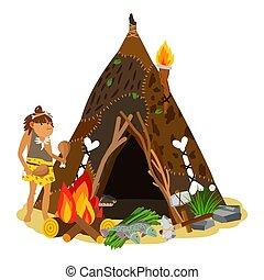 megkövez, ősi, barlang, nyílik, életkor, főzés, primitív,...