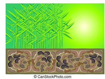 megkövez, bambusz, kőművesség