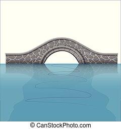 megkövez bridzs, felett, a, river.