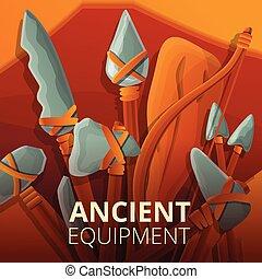 megkövez, fogalom, mód, felszerelés, ősi, karikatúra, háttér