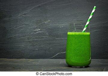 megkövez, kelkáposzta, smoothie, pala, sötét, pohár, zöld háttér, szalmaszál