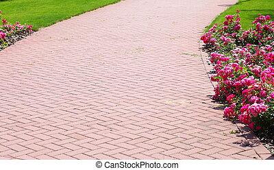 megkövez, tégla, járda, kert, gyalogjáró