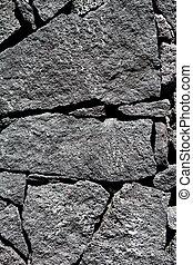 megkövez, vulkanikus, fal, láva, fekete, kőművesség