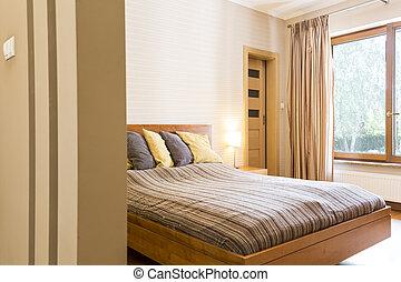 megkettőz, fiatalúr, vánkos, ágy, hálószoba