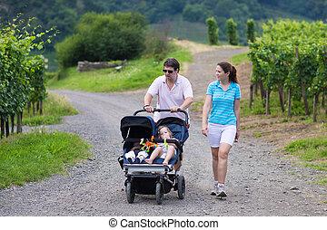 megkettőz, szülők, sétáló, természetjárás