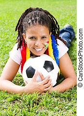 meglehetősen, fiatal, futball, rajongó