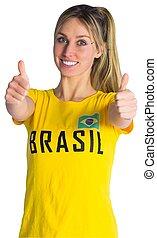 meglehetősen, foci rajongó, alatt, brasil, póló