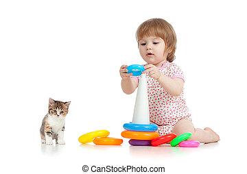 meglehetősen, kicsi gyermekek, vagy, kölyök, játék, noha, szín, játékszer