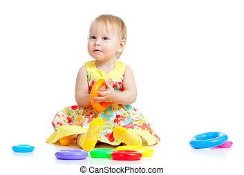 meglehetősen kicsi lány, játék, noha, szín, játékszer