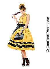 f2f542cbd8 Fej, nő, fiatal, sárga, fekete, szabadban, ruha, sál. Fej, nő ...