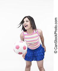 meglehetősen lány, noha, egy, labdarúgás
