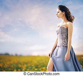 meglehetősen, nő, képben látható, a, búza terep