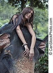 meglehetősen, nő, képben látható, a, elefánt