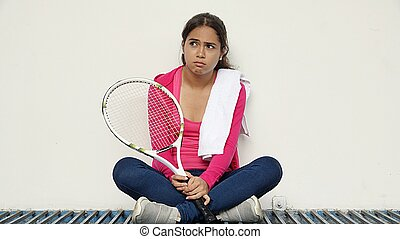 meglehetősen, női, bús, teniszjátékos