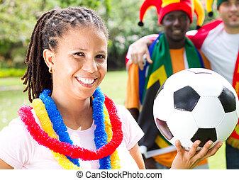 meglehetősen, női, futball, néző