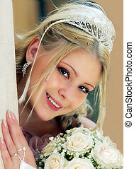 meglehetősen, young felnőtt, szőke, menyasszony