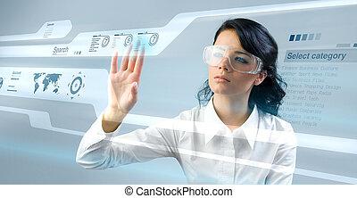 meglehetősen, young hölgy, használ, új, technologies
