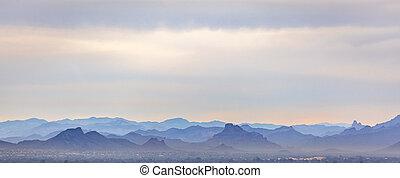 meglepő, hegyek, alatt, arizona, alatt, egy, bizonytalan ég