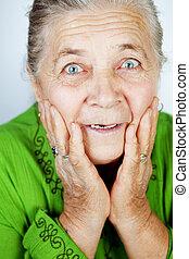 meglep, senior woman, kifejezés, izgatott
