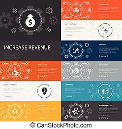 meglio, banners., ridurre, strategia, 10, linea, prezzi, infographic, spese, reddito, aumento, icone, aumento, semplice, pratiche
