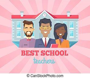 meglio, insegnante scuola, complimento, vettore, illustrazione