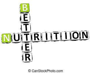 meglio, nutrizione, 3d, cruciverba