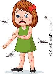 megmart, kevés, lény, mosquitos, leány, karikatúra