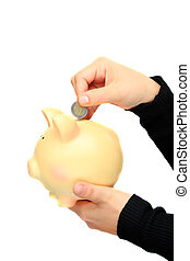 megmentés, euro, képben látható, egy, piggy-bank
