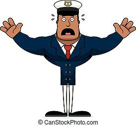megrémült, kapitány, karikatúra, csónakázik