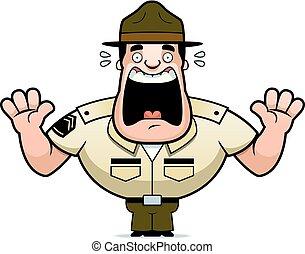 megrémült, karikatúra, fúr, őrmester