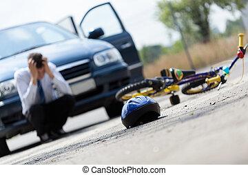 megrémült, után, sofőr, baleset